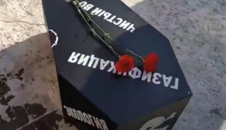 Жительница Красноярска «похоронила» экологию и чистый воздух у администрации края
