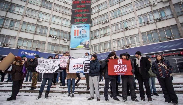 В Новосибирске водители фур провели акцию протеста